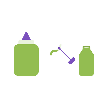 Glue and concealer vector flat icons, office vector illustration