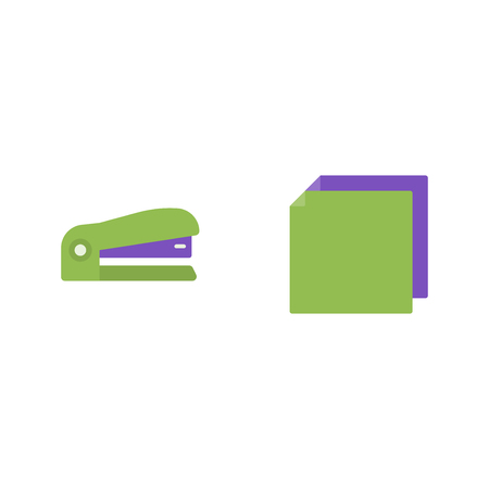 Stapler and paper vector flat icons, stationery vector illustration 向量圖像