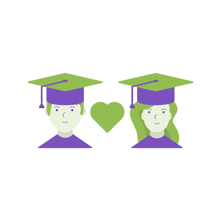 Graduation cap heart shape vector logo design.