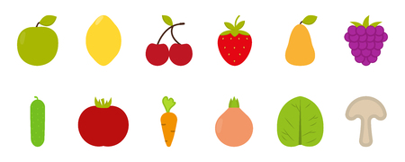 Fruits and vegetables vector flat icons, healthy food, vector illustration Ilustracja