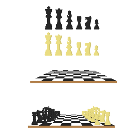 Black and white chess, chessboard vector illustration in flat style.