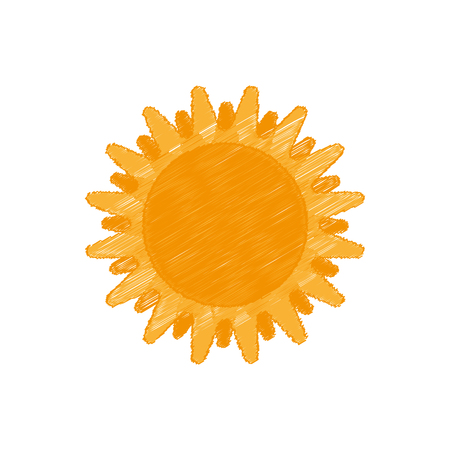 Hand drawn sun, vector illustration in cartoon style