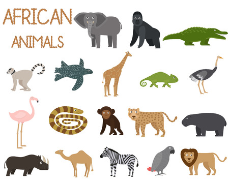 African animals set of icons in flat style, African fauna, elephant, rhino, lion, parrot, etc. vector illustration