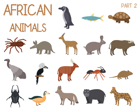 African animals set of icons in flat style, African fauna, dwarf goose, african vulture, buffalo, gazelle dorkas, etc. vector illustration