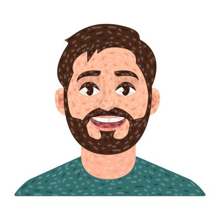 Bearded man avatar, man vector icon Vectores