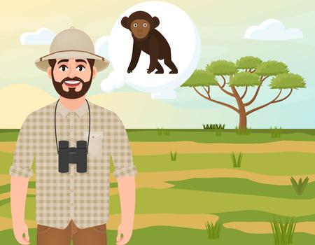 Happy man in cork hat, animal hunter thinks of African chimpanzee, safari landscape, umbrella acacia, African countryside, vector illustration