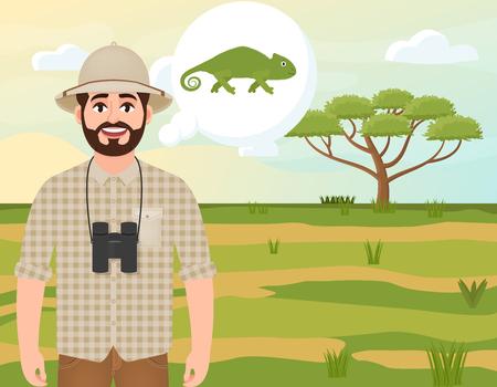Szczęśliwy człowiek w korkowym kapeluszu, myśliwy zwierząt myśli o kameleon, krajobraz safari, akacja parasolowa, afrykańskie krajobrazy, ilustracji wektorowych