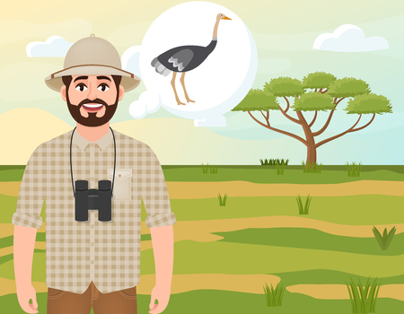 Happy man in a cork hat, animal hunter thinks about an ostrich, safari landscape, umbrella acacia, African countryside, vector illustration Vettoriali