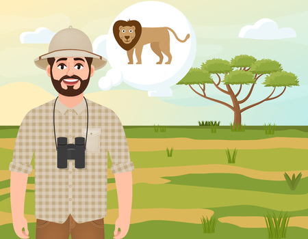 Happy man in cork hat, animal hunter thinks about African lion, safari landscape, umbrella acacia, African countryside, vector illustration Ilustração