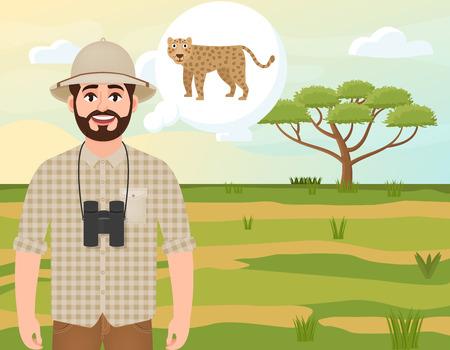 Happy man in cork hat, animal hunter thinks about leopard, safari landscape, umbrella acacia, African countryside, vector illustration