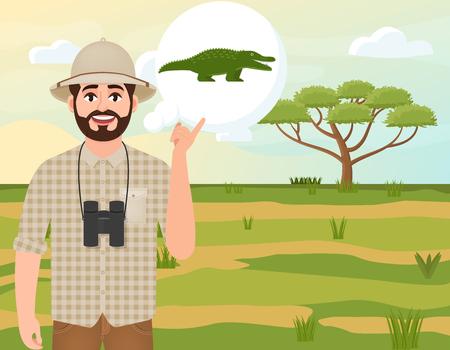 Happy man in cork hat, animal hunter thinks of a crocodile, safari landscape, umbrella acacia, African countryside, vector illustration Vettoriali