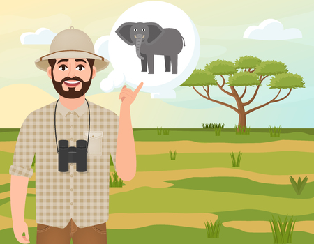 Happy man in a cork hat, animal hunter thinks of an African elephant, safari landscape, umbrella acacia, African countryside, vector illustration