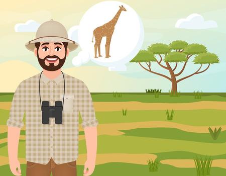 Happy man in cork hat, animal hunter thinks about giraffe, safari landscape, umbrella acacia, African countryside, vector illustration
