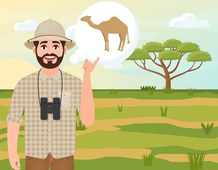 Happy man in cork hat, animal hunter thinks about camel, safari landscape, umbrella acacia, African countryside, vector illustration