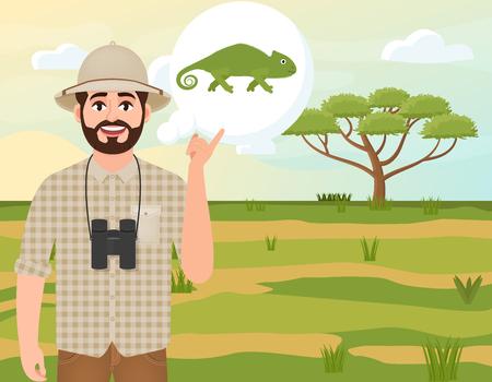 Happy man in cork hat, animal hunter thinks about chameleon, safari landscape, umbrella acacia, African countryside, vector illustration Vettoriali