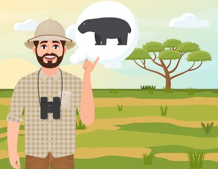 Happy man in cork hat, animal hunter thinks about hippopotamus, safari landscape, umbrella acacia, African countryside, vector illustration Ilustração