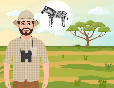 Happy man in a cork hat, an animal hunter thinks about a zebra, a safari landscape, an umbrella acacia, African countryside vector illustration