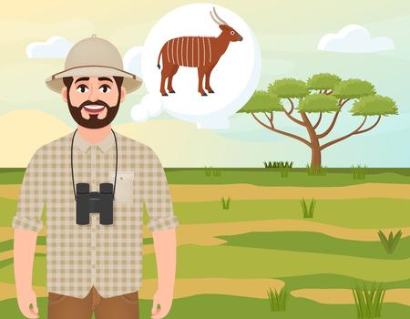 Happy man in cork hat, animal hunter thinks about bongo antelope, landscape safari, acacia umbrella, african countryside, vector illustration Vettoriali