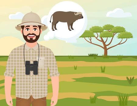 Happy man in cork hat, animal hunter thinks about African buffalo, safari landscape, acacia umbrella, African countryside, vector illustration