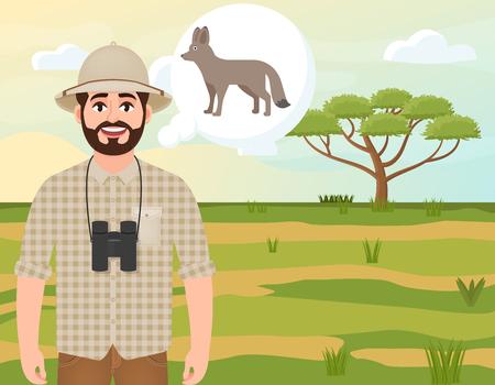 Happy man in cork hat, animal hunter thinks of African fox, landscape safari, acacia umbrella, African countryside, vector illustration