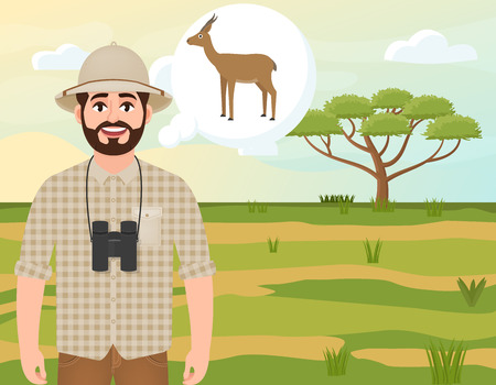 Happy man in cork hat, animal hunter thinks about gazelle dorcas, landscape safari, acacia umbrella, African countryside, vector illustration 写真素材 - 125011008