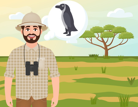 Happy man in cork hat, animal hunter thinks about African penguin, landscape safari, acacia umbrella, African countryside, vector illustration
