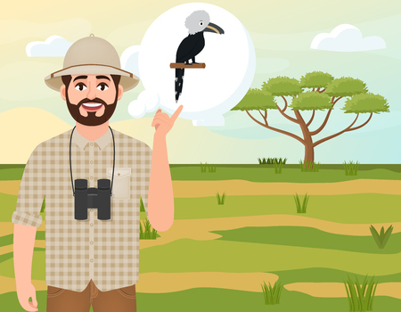 Happy man in a cork hat, an animal hunter thinks about the African white-clowned Hornbill, safari landscape, an acacia umbrella, African countryside, vector illustration Vettoriali