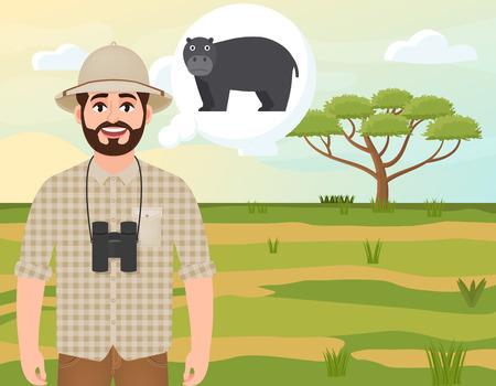 Happy man in cork hat, animal hunter thinks about hippo, landscape safari, acacia umbrella, African countryside, vector illustration
