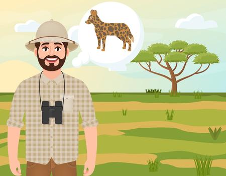 Happy man in cork hat, animal hunter thinks about hyenoid dog, safari landscape, acacia umbrella, African countryside, vector illustration