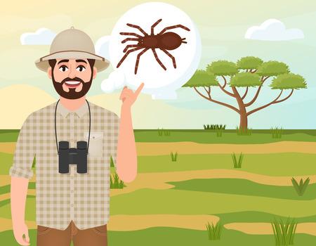 Happy man in cork hat, animal hunter thinks about spider, safari landscape, acacia umbrella, african countryside, vector illustration Ilustração