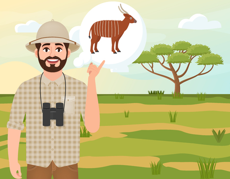 Happy man in cork hat, animal hunter thinks about bongo antelope, landscape safari, acacia umbrella, african countryside, vector illustration  イラスト・ベクター素材