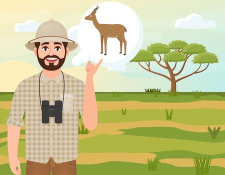 Happy man in cork hat, animal hunter thinks about gazelle dorcas, landscape safari, acacia umbrella, African countryside, vector illustration