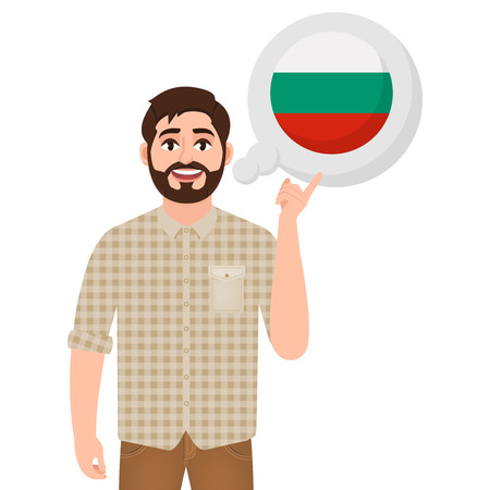 Happy bearded man says or thinks about the country of Bulgaria, European country icon, traveler or tourist vector illustration