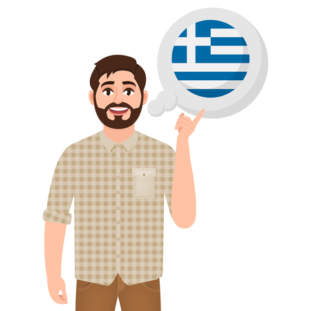 Happy bearded man says or thinks about the country of Greece, European country icon, traveler or tourist
