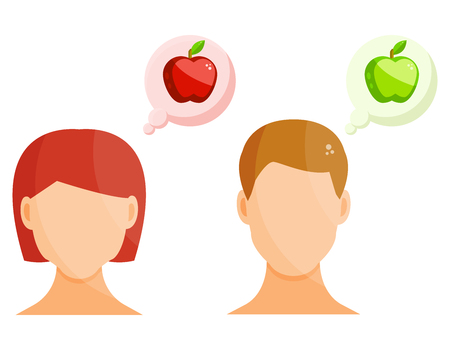 A woman and a man think about a fresh apple, people eat healthy food, a girl and a guy want to eat fruit vector illustration