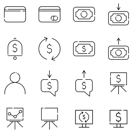 Financial operations outline icons set, currency conversion, money transfer, data analysis Archivio Fotografico - 125053793