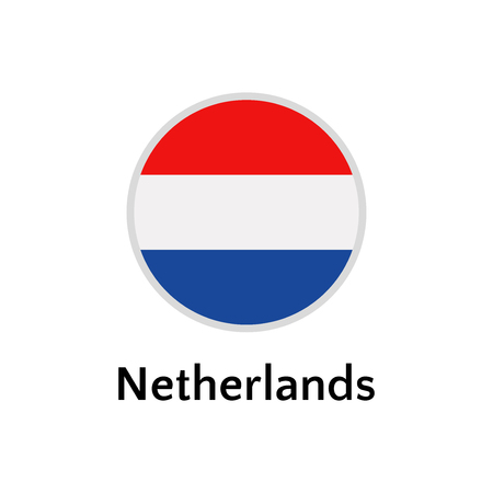 Netherlands flag round flat icon, european country vector illustration