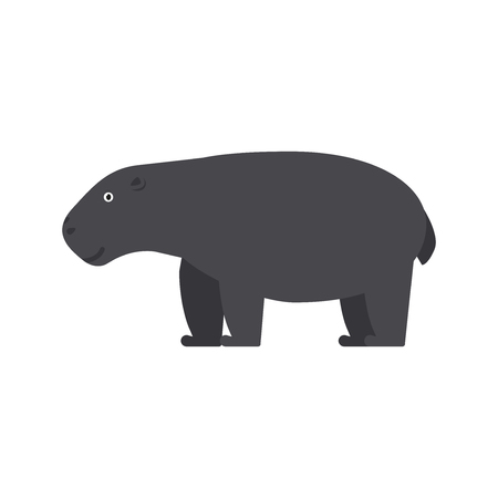 Hippopotamus icon in flat style, african animal vector illustration
