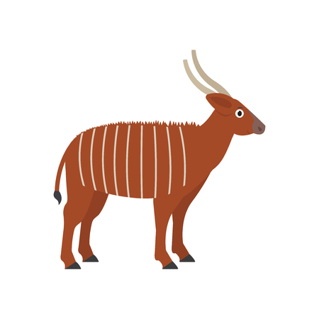 Bongo icon in flat style, african animal vector illustration