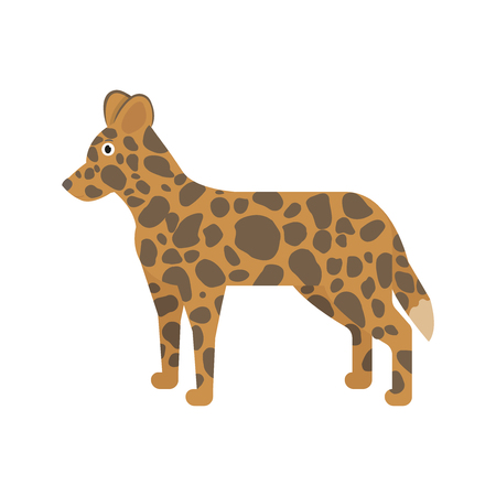 Hyenoid dog icon in flat style, african animal vector illustration