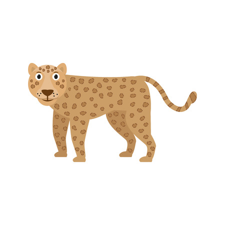 Leopard icon in flat style, african animal vector illustration