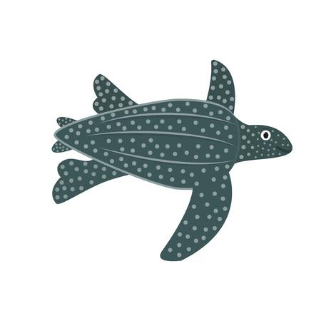 Leatherback turtle icon in flat style, african animal vector illustration