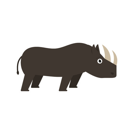Rhinoceros icon in flat style, african animal vector illustration