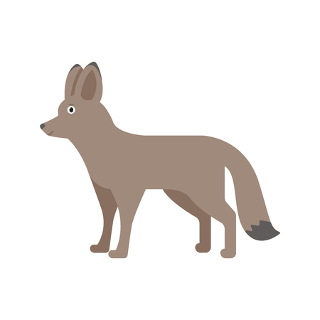 Fox icon in flat style, african animal vector illustration