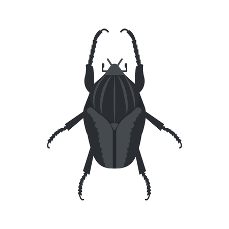 Goliath beetle icon in flat style, african animal vector illustration