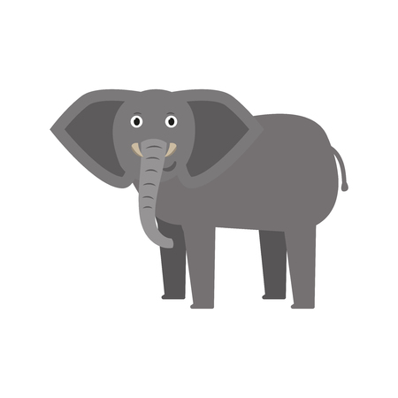 Elephant icon in flat style, african animal vector illustration