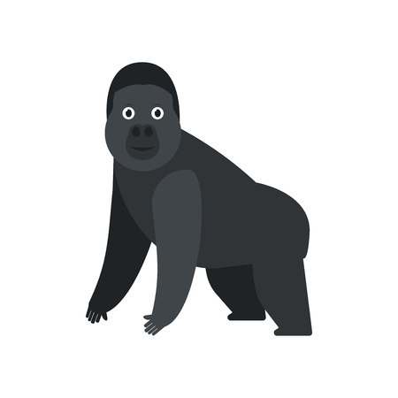 Gorilla icon in flat style, african animal vector illustration Reklamní fotografie - 124982610