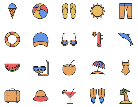 Summer set of icons in filled outline style, vacation elements vector illustration 向量圖像