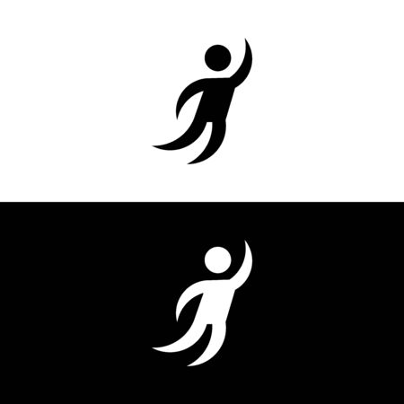 Active or jumping man, in glyph style, minimalistic . Vector illustration on white and black background.