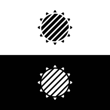 Sun with diagonal lines icon in glyph style, minimalistic . Vector illustration on white and black background. Иллюстрация